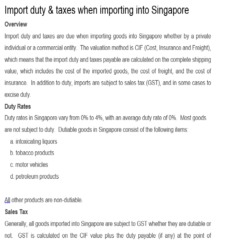 customs advice courier to singapore